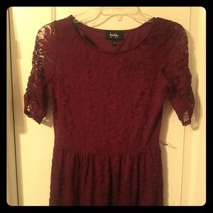 by & by Burgundy lace dress